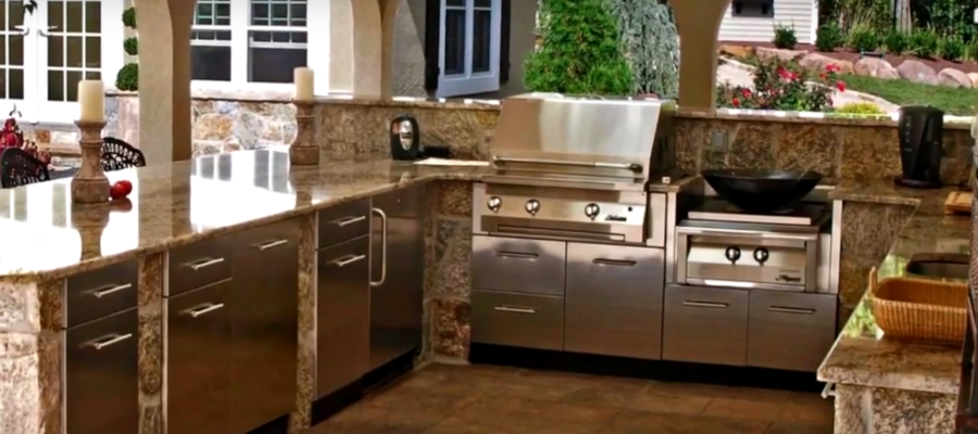 Outdoor Or Backyard Kitchen Installation; Home Remodeling Inspirations